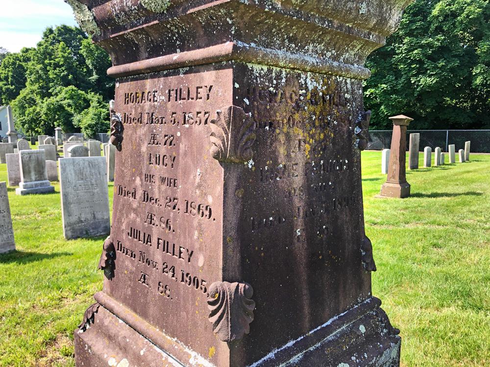 Filley family obelisk in Palisado Cemetery, Windsor, CT.