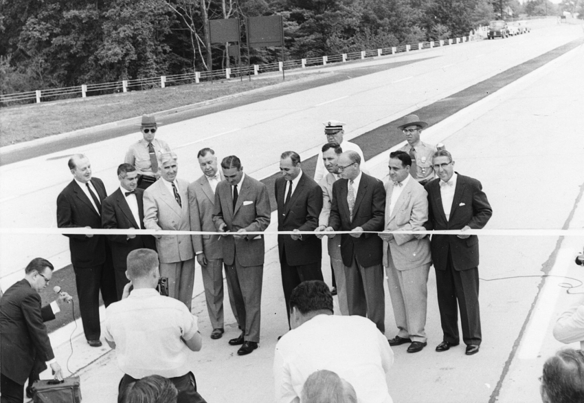 I-91 ribbon cutting, 1955