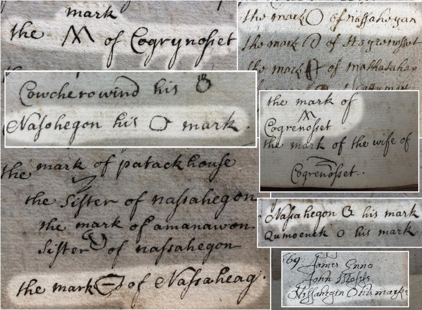 The marks of Nassahegan and Coggerynosset in Windsor land deeds