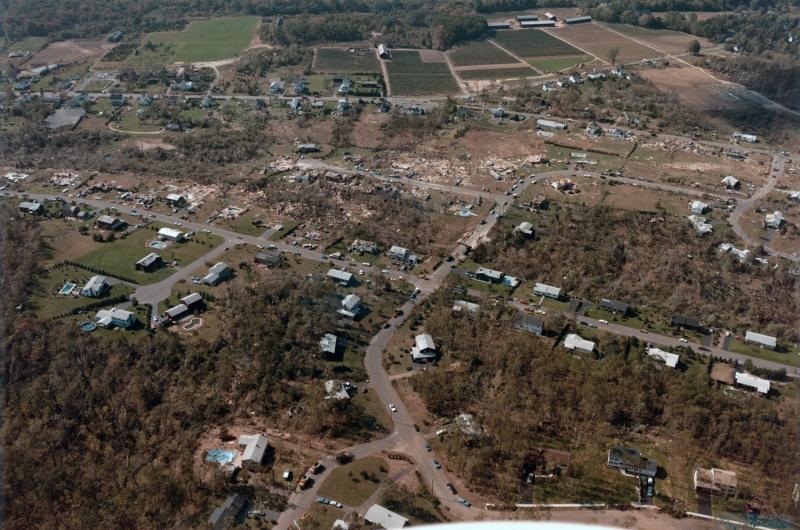 Aerial view of tornado path