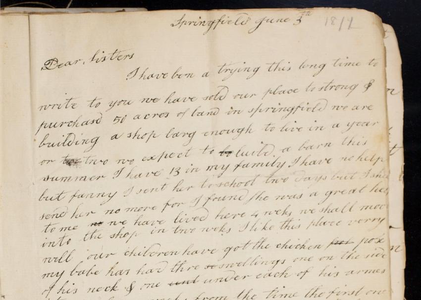 Hannah Hayden letter to her sisters, June 3, 1811.