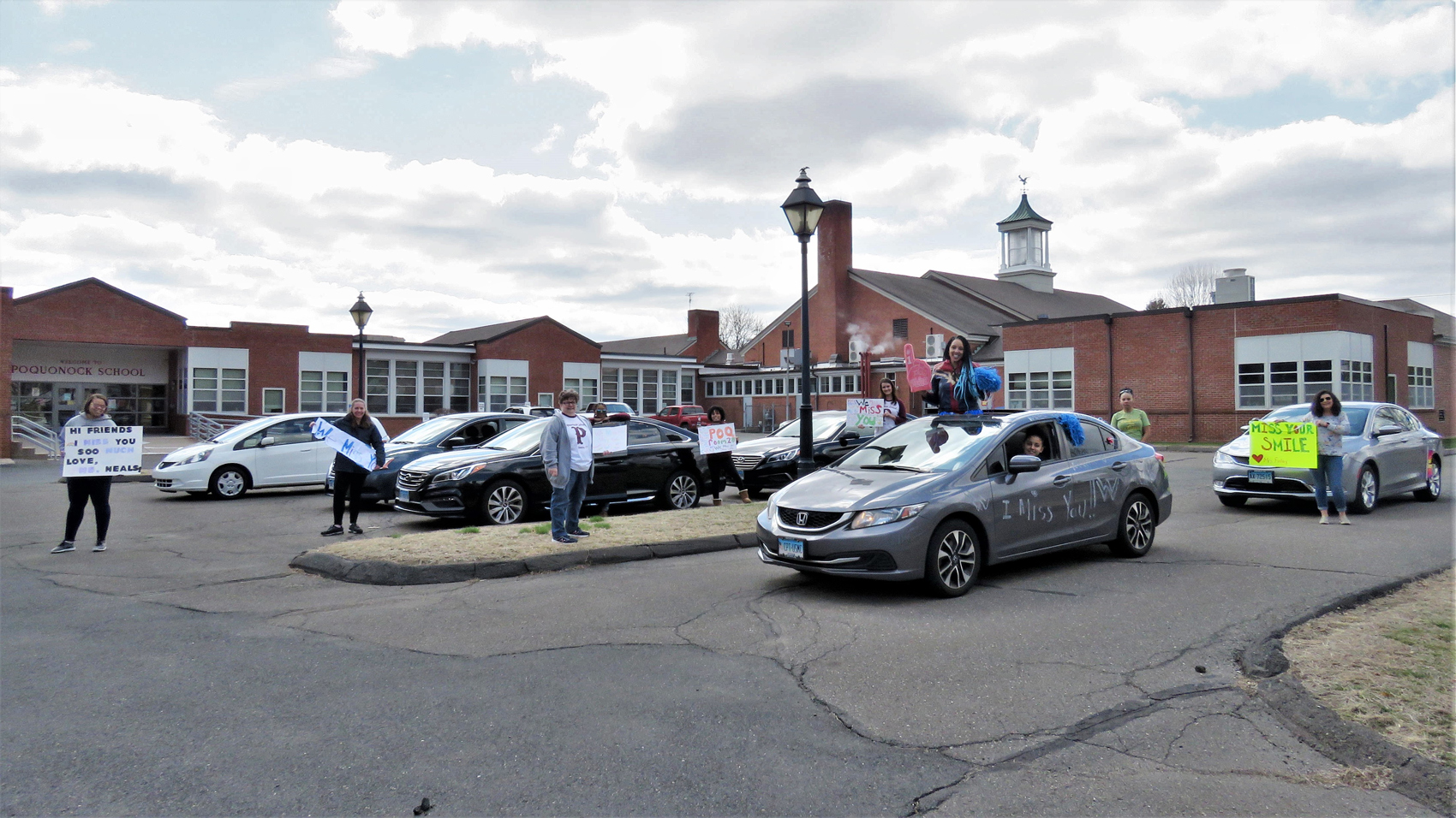 Social distancing teachers parade