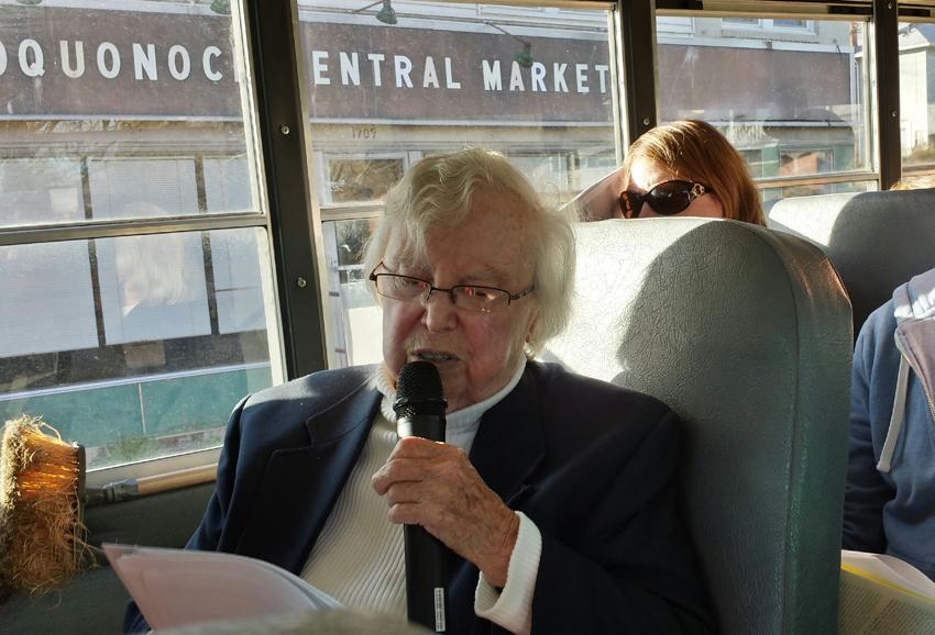 Bev leading a bus tour through Poquonock