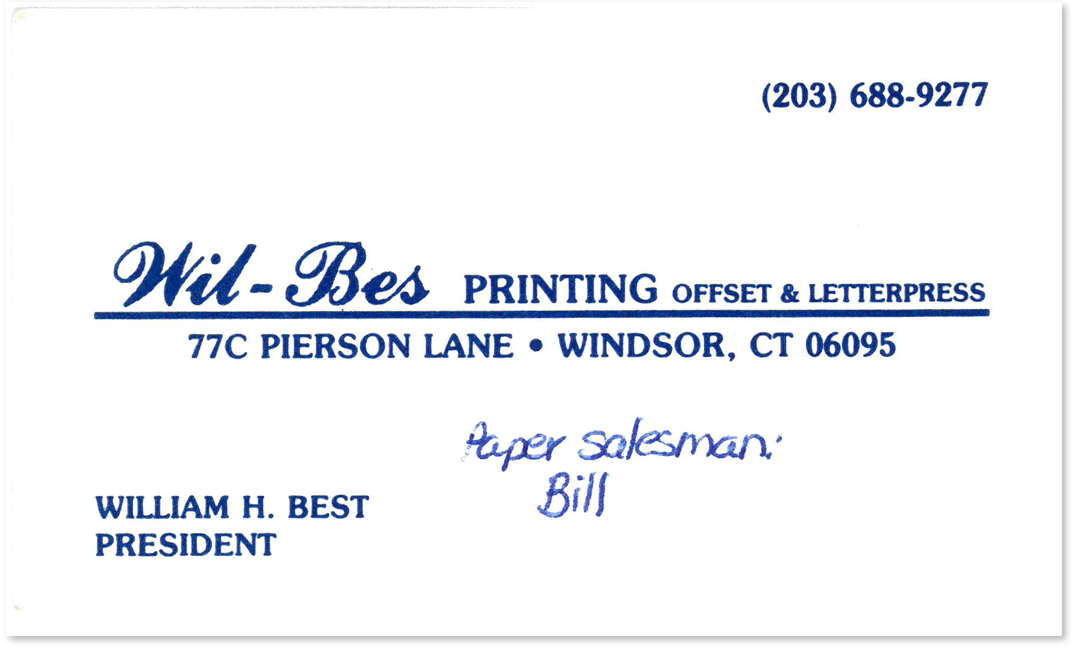 William H. Best business card, Wil-Bes Printing