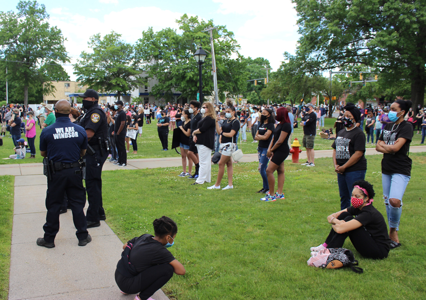 scene from Windsor's Vigil for Black Lives, June 7, 2020
