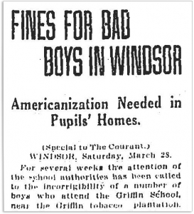 Hartford Courant article - Fines for Bad Boys in Windsor, 1919